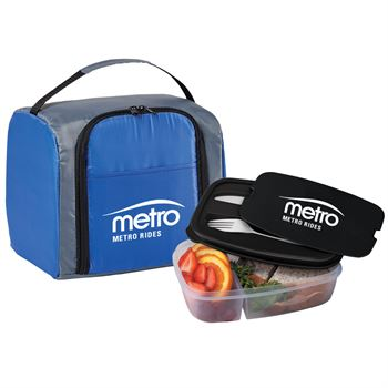 Blue Springfield Lunch/Cooler Bag & 2-Section Food Container Gift Set - Personalization Available