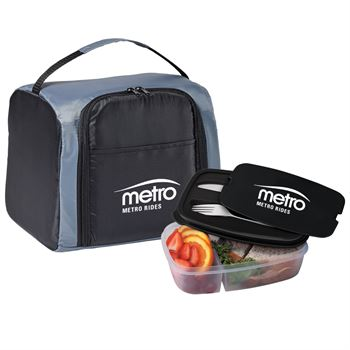 Black Springfield Lunch/Cooler Bag & 2 Section Food Container Gift Set - Personalization Available