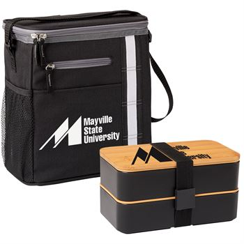 Black Westbrook Lunch/Cooler Bag & Bamboo Food Container Combo - Personalization Available