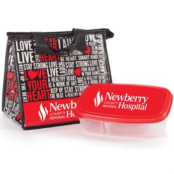 Love Your Heart Word Cloud Lunch Bag & Food Container Gift Set - Personalization Available