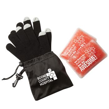 Touchscreen Gloves & Reusable Hand Warmers Gift Set With Holiday Gift Card - Personalization Available