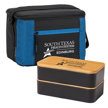 Atlantic Lunch/Cooler Bag & 2-Tier Wheat Fiber/Bamboo Bento Box Gift Set