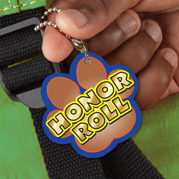 Honor Roll Paw-Shaped Award Tag With 4