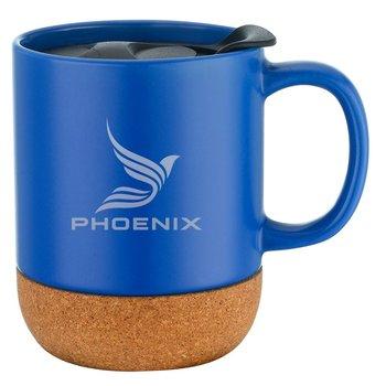 Cork Base Ceramic Mug with Lid - 12 Oz. - Laser Engraved