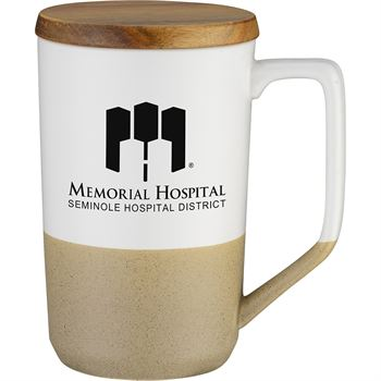 Two-Tone Tea & Coffee Ceramic Mug With Wood Lid 15-Oz. - Personalization Available