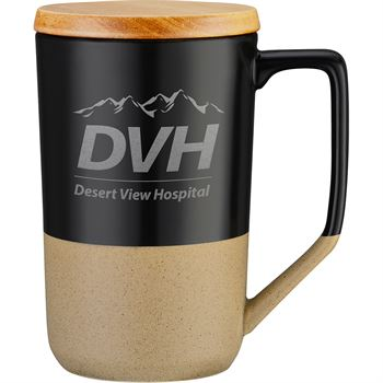 Two-Tone Tea And Coffee Ceramic Mug With Wood Lid 15 Oz.- Laser   Engraved Personalization Available