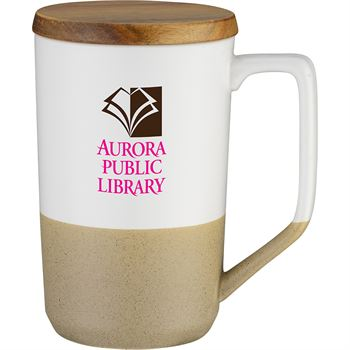 Two-Tone Tea And Coffee Ceramic Mug With Wood Lid 15 Oz.-Full Color Personalization Available