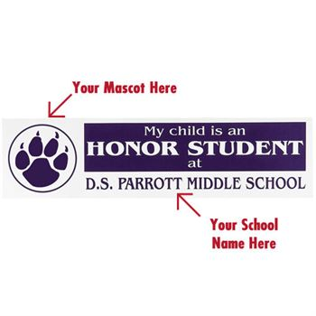 My Child Is An Honor Student at... Bumper Sticker - Personalization Available