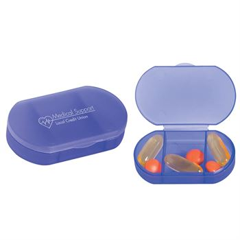 3-Compartment Oval-Shaped Pill Holder - Personalization Available