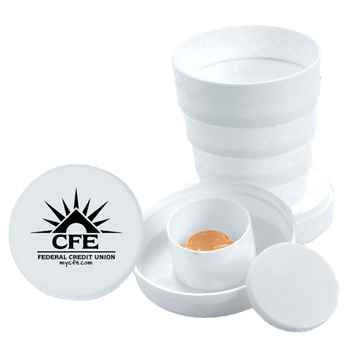 Collapsible Drinking Cup With Pill Box - Personalization Available