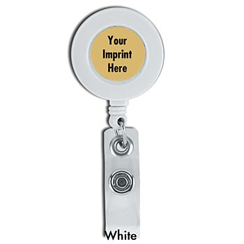 Retractable I.D. Round Badge Holders - Personalization Available