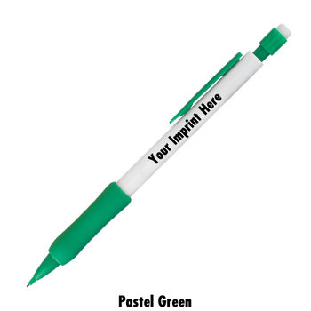 White Barrel With Color Rubber Grips Mechanical Pencils - Personalization Available