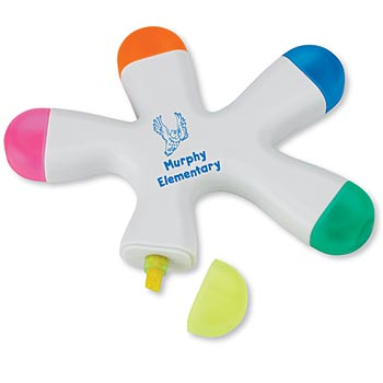 Five-Color Fluorescent Highlighter With Large Personalization Area
