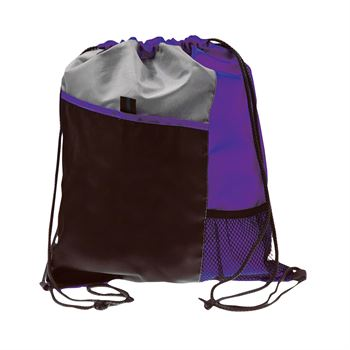 Drawstring Sportpack With Mesh Front Pocket & Pull String Closure - Personalization Available