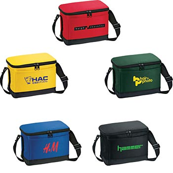 6-Pack Insulated Bag With Double Zipper Closure On Main Compartment - Personalization Available