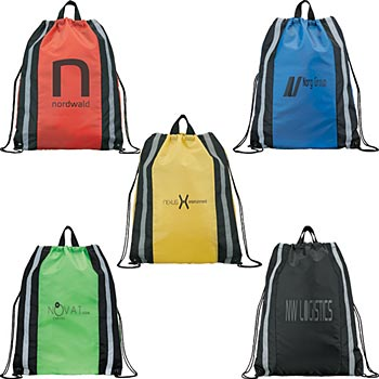 Reflective Drawstring Backpack With Double Handles - Personalization Available