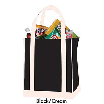 Reusable Non-Woven Apollo Grocery Tote With Reinforced Contrast Handles  - Personalization Available