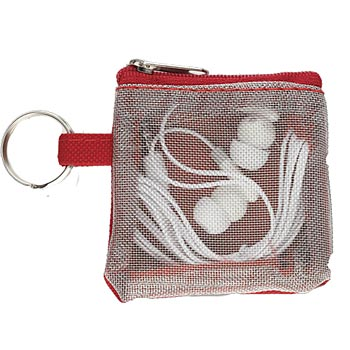 White Earbuds In Carry Pouch - Personalization Available