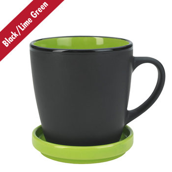 12 Oz. Dishwasher Safe Two-Tone Ceramic Mug With Coaster/Lid - Personalization Available