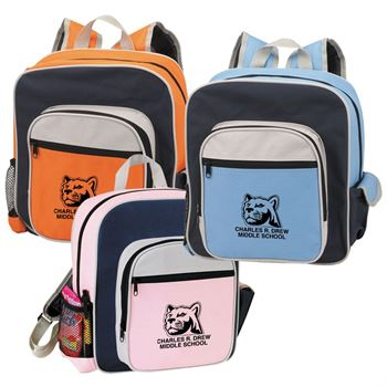Contemporary Kid's Backpack With Side Pouch - Personalization Available