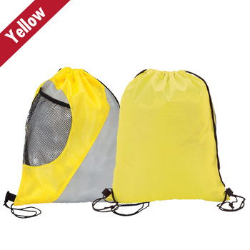 Gusseted Mesh Pockets Drawstring Sport Bag - Personalization Available