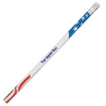 #2 Standard Red, White & Blue Patriotic Foil Pencil - Personalization Available