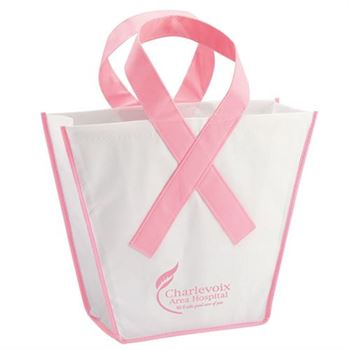 Pink Ribbon Breast Cancer Awareness Trapezoid Shaped Tote - Personalization Available