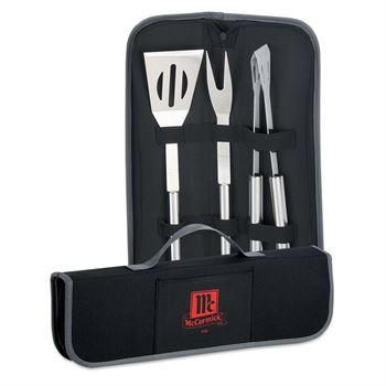 3-Piece Stainless Steel Barbeque Set With Polyester Case - Personalization Available