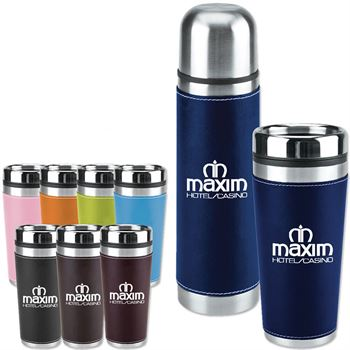 Leatherette Tumbler/Vacuum Bottle Set - Personalization Available