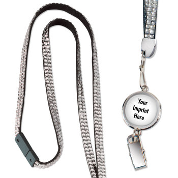 Medallion With 1-Color Imprint Retractable Bling Lanyard - Personalization Available