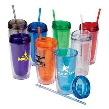 16-Oz. Wave Tumbler With Straw - Personalization Available