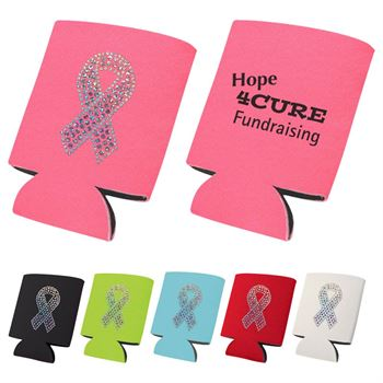 Breast Cancer Pink Ribbon Bling Collapsible Koozie - Personalization Available