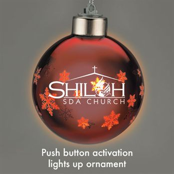 Light Up Glass Holiday Ornament Personalization Available