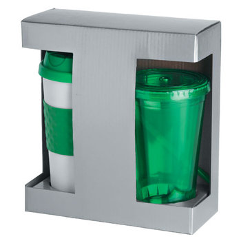 Hot 'N' Cold Drinkware Gift Set With Window Gift Box - Personalization Available