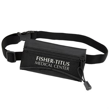 Black Fitness Belt Pouch With Zippered Front Compartment  - Personalization Available