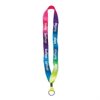 "3/4"" Tie-Dye Lanyard with Metal Crimp & Metal Split-Ring - Personalization Available"
