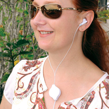 Plastic Retractable Earbuds - Personalization Available