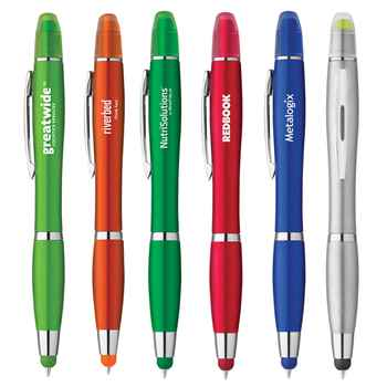 Metallic Satin Grip Stylus Twist Pen with Gel Wax Highlighter - Personalization Available