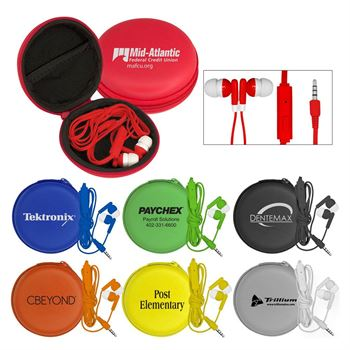 Ear Buds With Mic in Deluxe Case - Personalization Available
