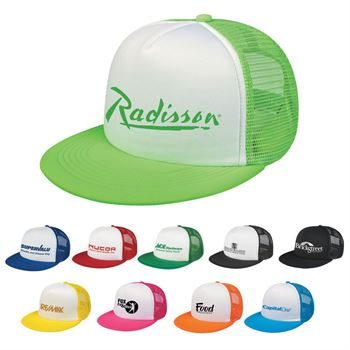 Neon Flat Bill Trucker Cap - Personalization Available