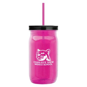 Spirit Tritan™ Mason Jar with Straw Lid 27-oz. - Personalization Available