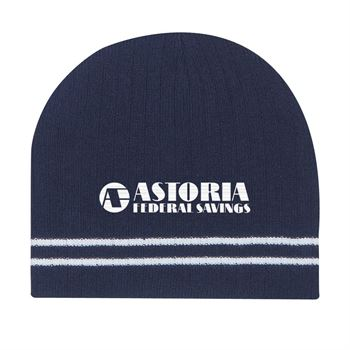 Ribbed Knit Beanie With Double Stripe - Embroidery Personalization Available