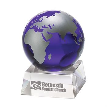 Blue Crystal Globe Award - Personalization Available