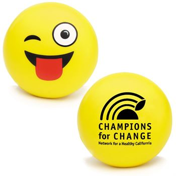 Wink Emoji Squeezies® Stress Reliever - Personalization Available