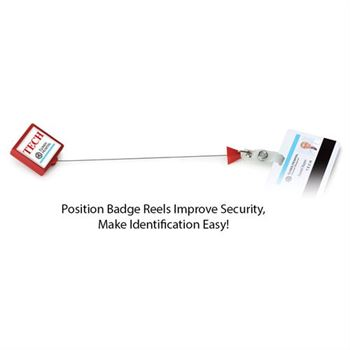 Anti-Microbial Square Retractable Badge Reel With Staff Position and Personalization