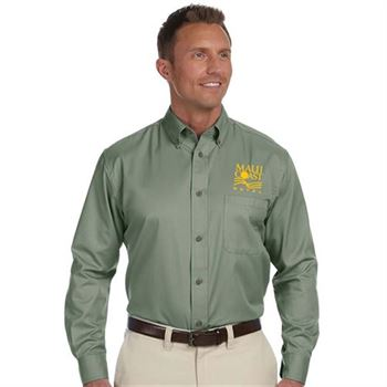 Harriton® Easy Blend™ Men's Long-Sleeve Twill Shirt with Stain Release - Embroidery Personalization Available