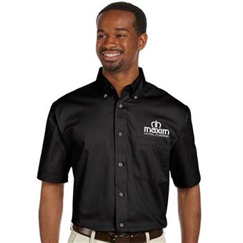 Harriton® Easy Blend™ Men's Short-Sleeve Twill Shirt with Stain Release - Embroidery Personalization Available
