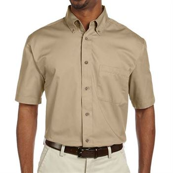 Harrington Easy Blend ™ Men's Short-Sleeve Twill Shirt with Stain Release