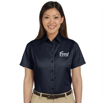 Harriton® Easy Blend™ Women's Short-Sleeve Twill Shirt with Stain Release - Personalization Available