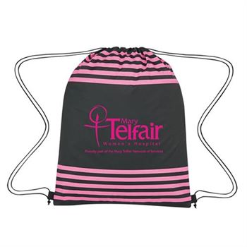 Black & Pink Striped Drawstring Sports Pack - Personalization Available
